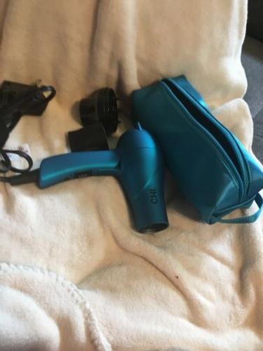 air travel folding hair blow dryer turquoise