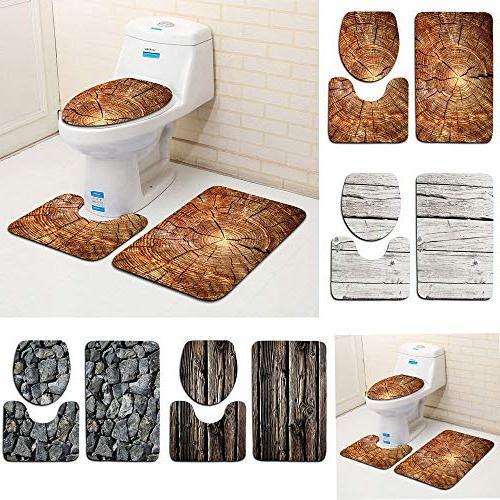 Bathroom mat Wood Pattern Toilet Seat Rug Set Polyester Modern Aug6- Quick Bath Bathmat Nonslip Mildew