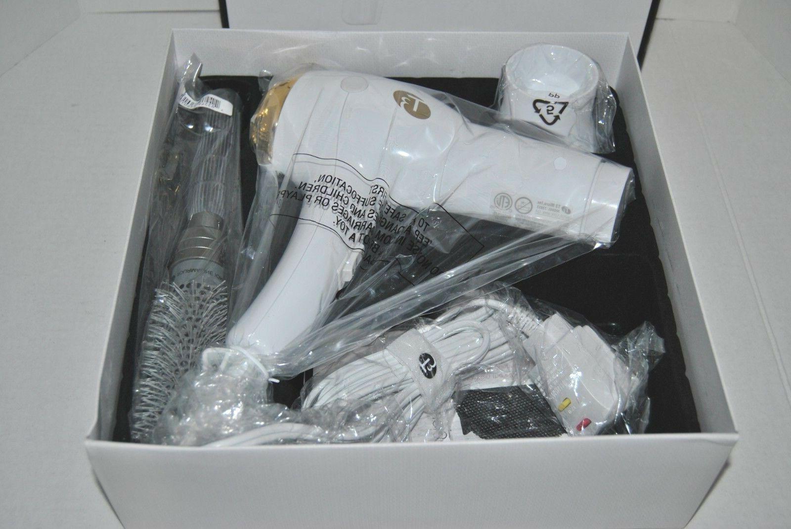 """T3 Dryer White/Gold + Gift 2"""" Brush"""