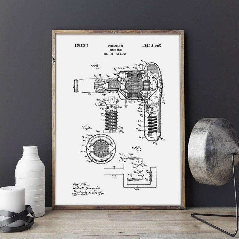 <font><b>Blow</b></font> Patent Hair Gift Painting Decor Blueprint Poster