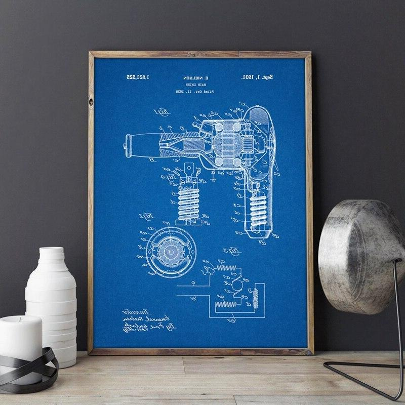 <font><b>Blow</b></font> Patent Hair Wall Art Picture <font><b>Canvas</b></font> Painting Home Decor Blueprint Poster Fashion