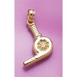 14k Gold Necklace Charm Pendant, 3d Blow Dryer High Polish
