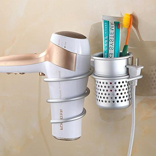Hair Hair Dryer Organizer Wall Hair Hanging Rack Spiral Styling Stand Cup Perfect Storage Set