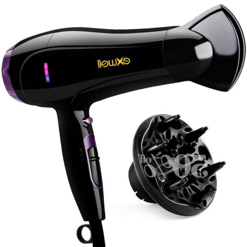 Hair Dryer with Diffuser, Exwell 1875W Lower Noise75dB Profe