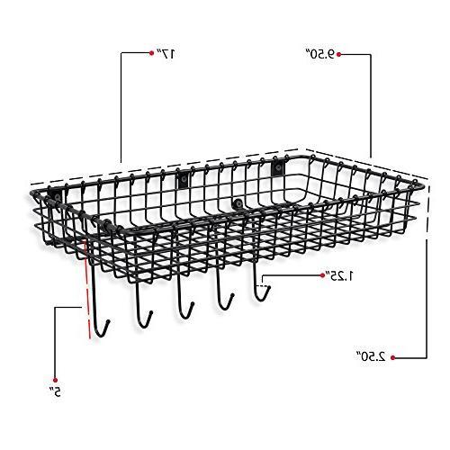 Wall35 Metal Wire - Mounted Organizer Black Set 2
