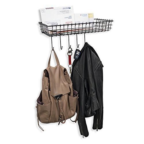 Wall35 Wire Baskets - Mounted Organizer Hooks Black Set of 2