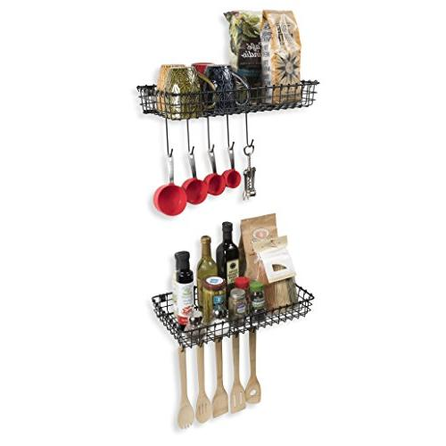 Wall35 Wire Mounted Organizer with Hooks Set of 2