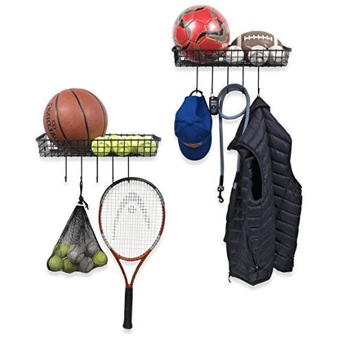 Wall35 Industrial Decor Wire Baskets Mounted Organizer Hooks Set