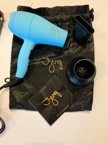 PYT Mini Turbo Travel TURQUOISE Hair Blow Dryer Atrahments Teal w/Bag