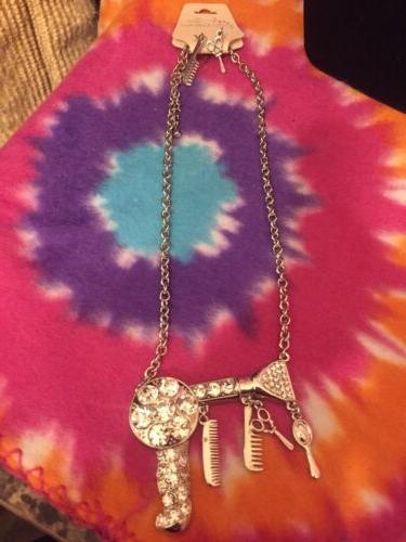 NEW BLOW DRYER Stylist Scissors Charm Necklace