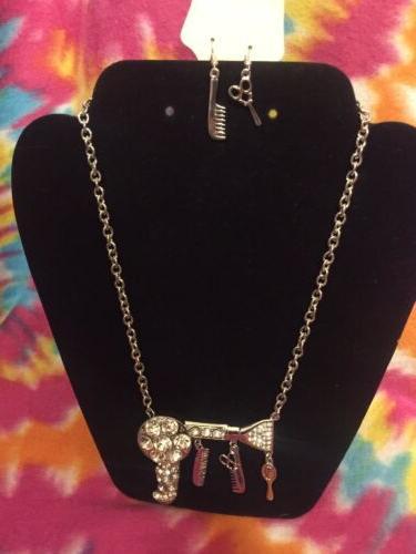 NEW BLOW DRYER Hair Stylist Mirror Charm Necklace
