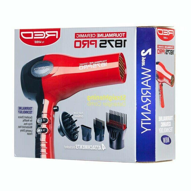 NEW Blow Dryer Professional With Comb No Frizz Red