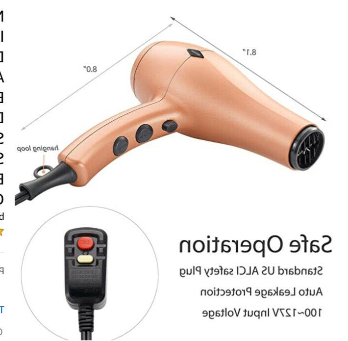 NITION Negative Ions Hair Dryer w/ Diffuser Attachment Ionic