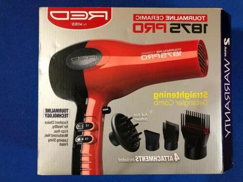 red 1875w hair blow dryer w comb