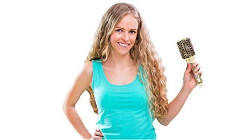 Round Brush pzaZ   Boar Bristles + Straighten, Volume + BONUS Cleaner