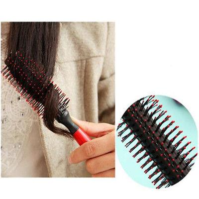 Wood Hairbrush Comb Bristle Round Dryer Hair Rollers Brush New