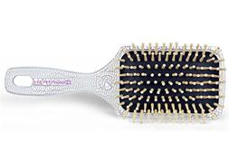 Massage Hair Brush, Natural Wood Bristle Cushion Paddle Brus