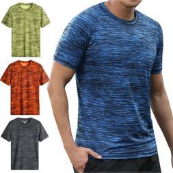 Men Summer Casual Short Sleeve T Shirt Fit Sport Fast-Dry Br