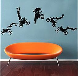 Motocross Wall Decals Motocross Graphic Extreme Sport Silhou