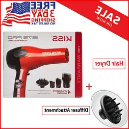 New Hair Blow Red Professional Dryer With Comb Attachment No