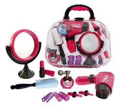 Plastic Pretend Play Beauty Kit Including Hair Dryer Curling