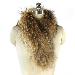 MINGCHUAN Natural Raccoon Fur Collar Large Detachable Fur Co