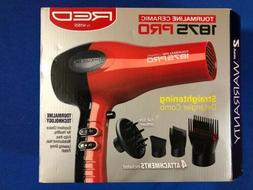 Red 1875W  Hair Blow Dryer w/ Comb Attachment Professional N