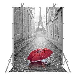 FUERMOR 5x7ft Red Umbrella Paris Eiffel Tower Backdrop Props