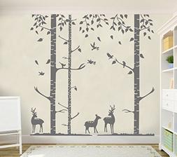 N.SunForest Removable 6ft Birch Tree Wall Decals Nursery Dec