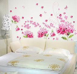 Amaonm Removable DIY Romantic Pink Hydrangea Flowers Flower