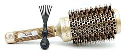 Round Hair Brush by pzaZ | Boar Bristles + Ceramic Ionic + S