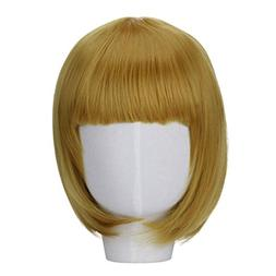 Huphoon Wigs Multi Color Short Bob Straight Full Wigs With F