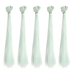 5pcs/lot,25x100cm Straight Mint Green Synthetic Hair Weft fo