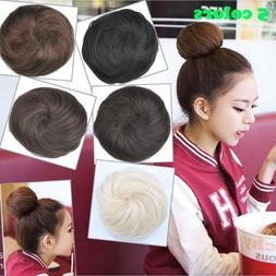 Women's Synthetic Scrunchie Hair Bun Cover Hairpiece Clip in