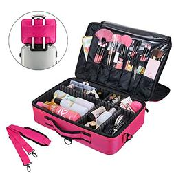 AMASAVA Makeup Train Case 3 Layer Cosmetic Toiletry Organize