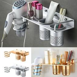 Wall Mount Blow Dryer Holder Curling Flat Aluminum Stand Org
