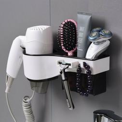 Wall Mount Hair Blow Dryer Holder Bathroom Comb Shaver Stora