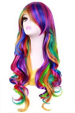 Ocamo Wigs Fashionwu Long Big Wavy Rainbow Wigs Gothic Curly