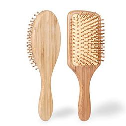 Hair Brush - ELVASEN 2 Pack Natural Wood Paddle Brush Detang