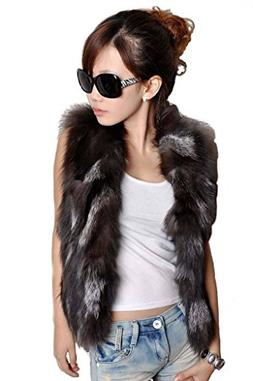 YR Lover Women's Real Silver Fox Fur Vest Warm Costs Silver